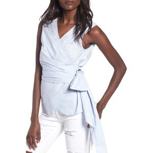 WAYF Ice Blue Sleeveless Poplin Wrap Top (Size: M)